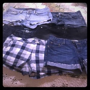 Six pairs of shorts,5 blue jean,1 pair navy white